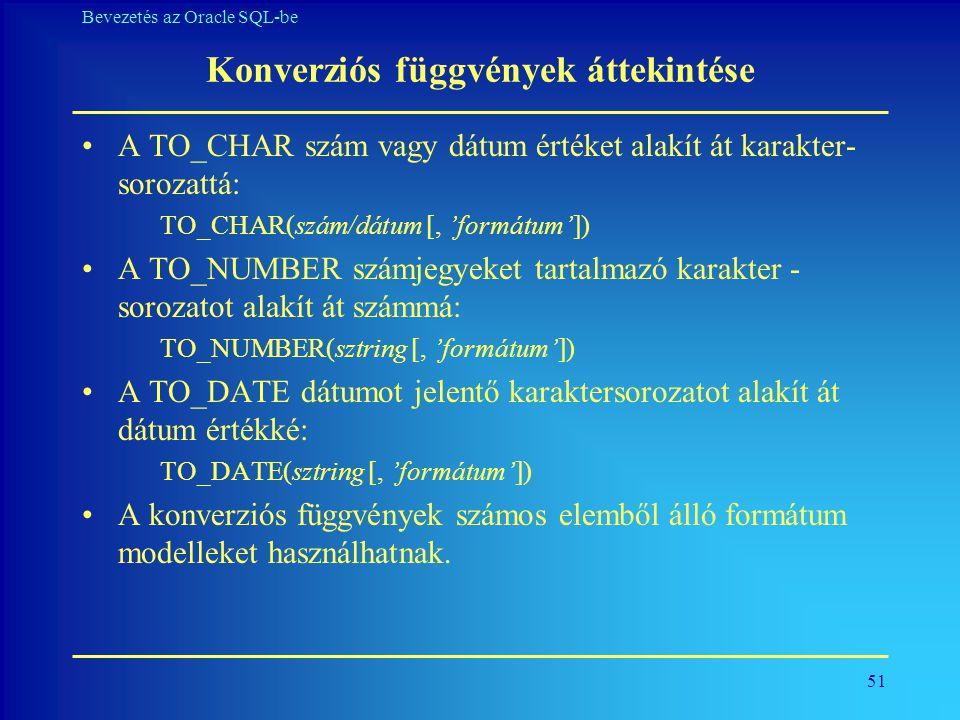 Konverziós függvények áttekintése