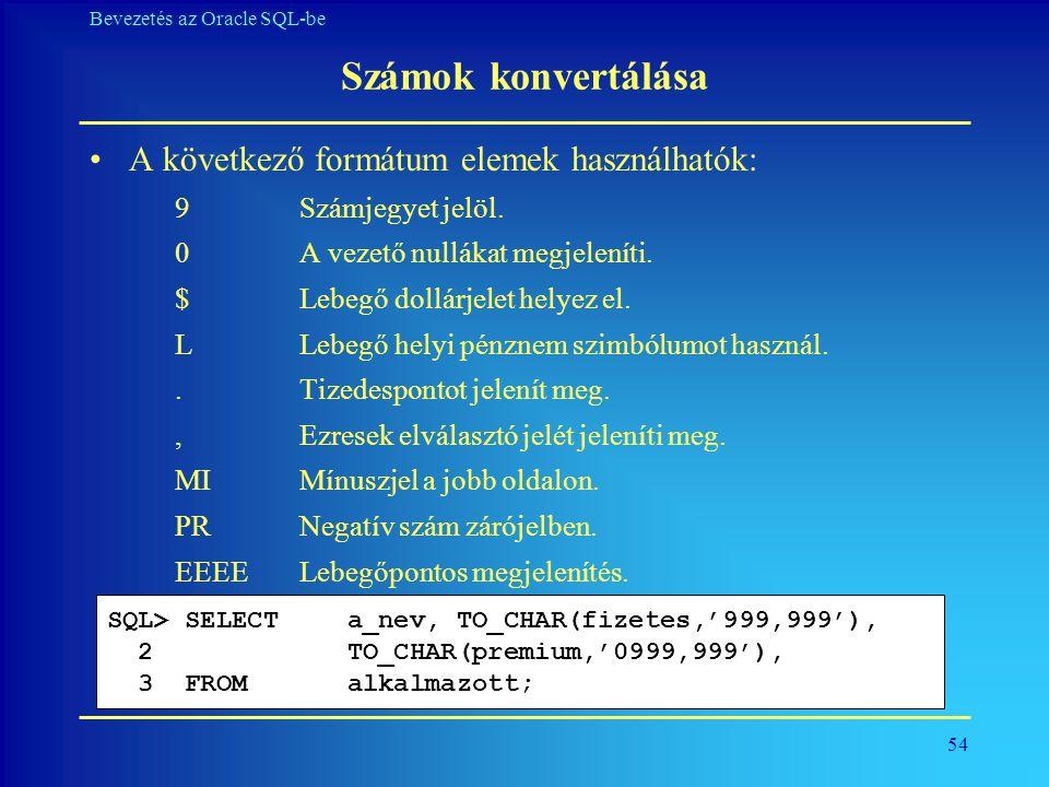 Számok konvertálása A következő formátum elemek használhatók: