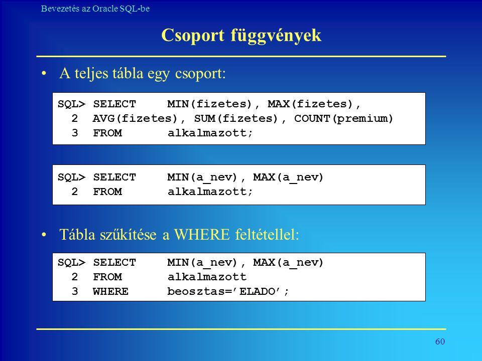 Csoport függvények A teljes tábla egy csoport: