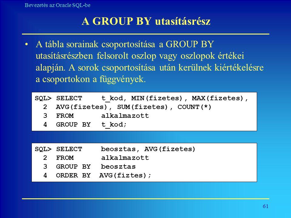 A GROUP BY utasításrész