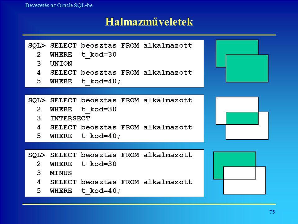 Halmazműveletek SQL> SELECT beosztas FROM alkalmazott