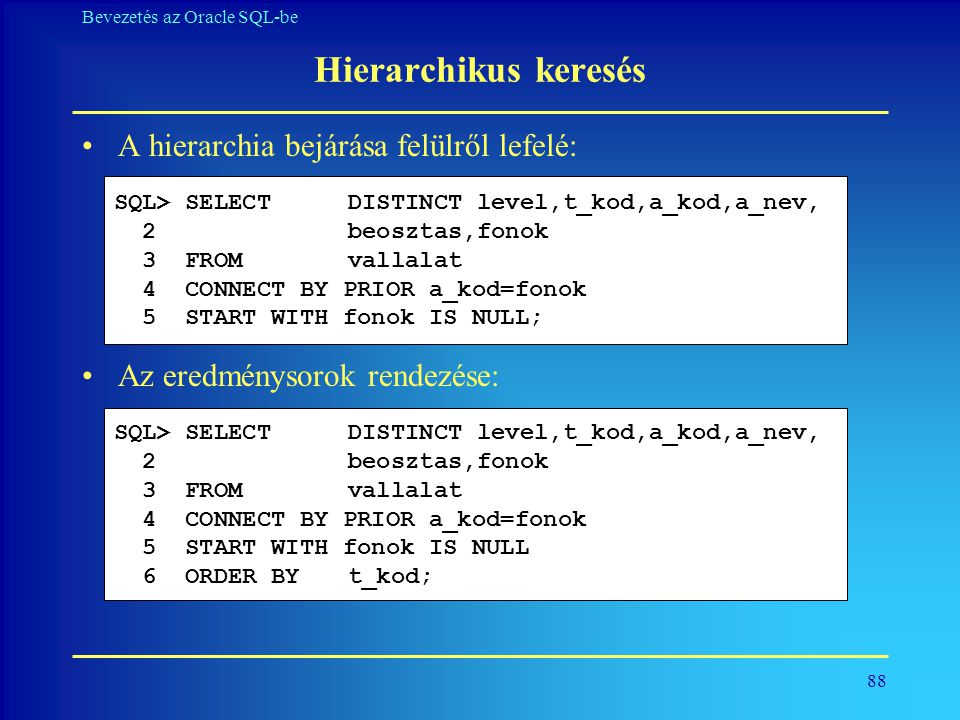 Hierarchikus keresés A hierarchia bejárása felülről lefelé: