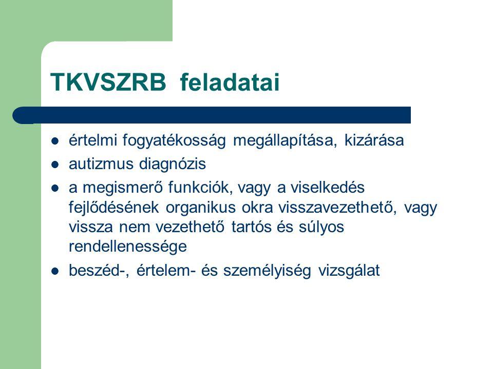 TKVSZRB feladatai értelmi fogyatékosság megállapítása, kizárása