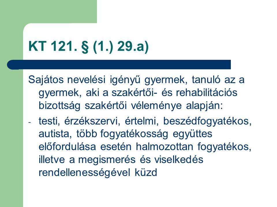 KT 121. § (1.) 29.a) Sajátos nevelési igényű gyermek, tanuló az a gyermek, aki a szakértői- és rehabilitációs bizottság szakértői véleménye alapján: