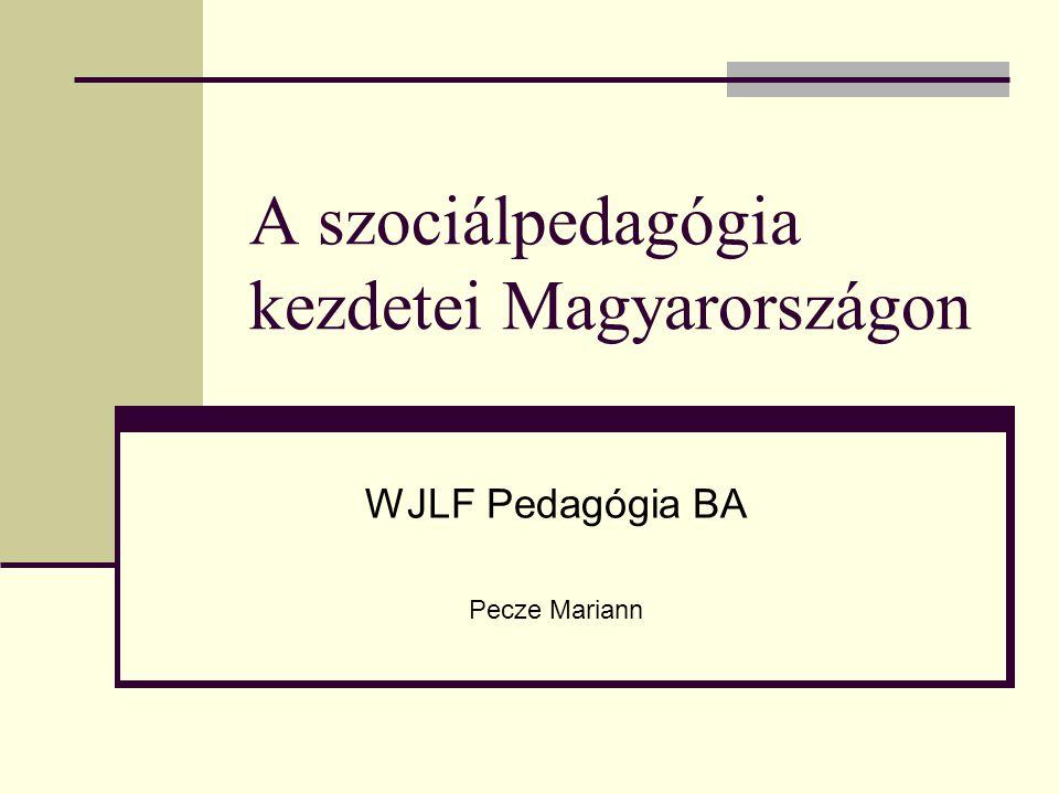 A szociálpedagógia kezdetei Magyarországon