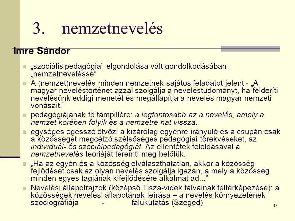 3. nemzetnevelés Imre Sándor