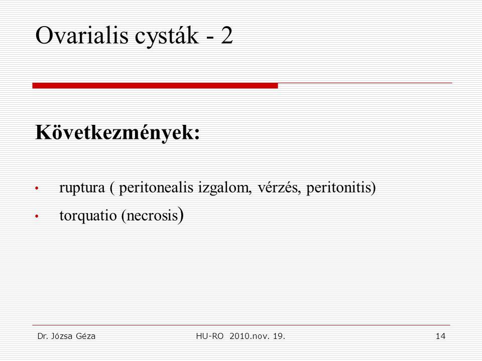 Ovarialis cysták - 2 Következmények: