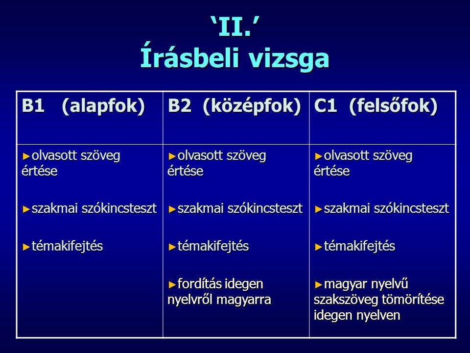 'II.' Írásbeli vizsga B1 (alapfok) B2 (középfok) C1 (felsőfok)