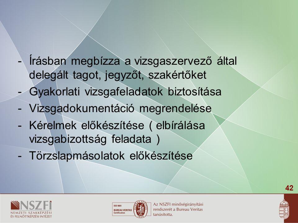 Írásban megbízza a vizsgaszervező által delegált tagot, jegyzőt, szakértőket