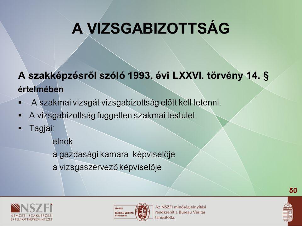 A VIZSGABIZOTTSÁG A szakképzésről szóló 1993. évi LXXVI. törvény 14. §