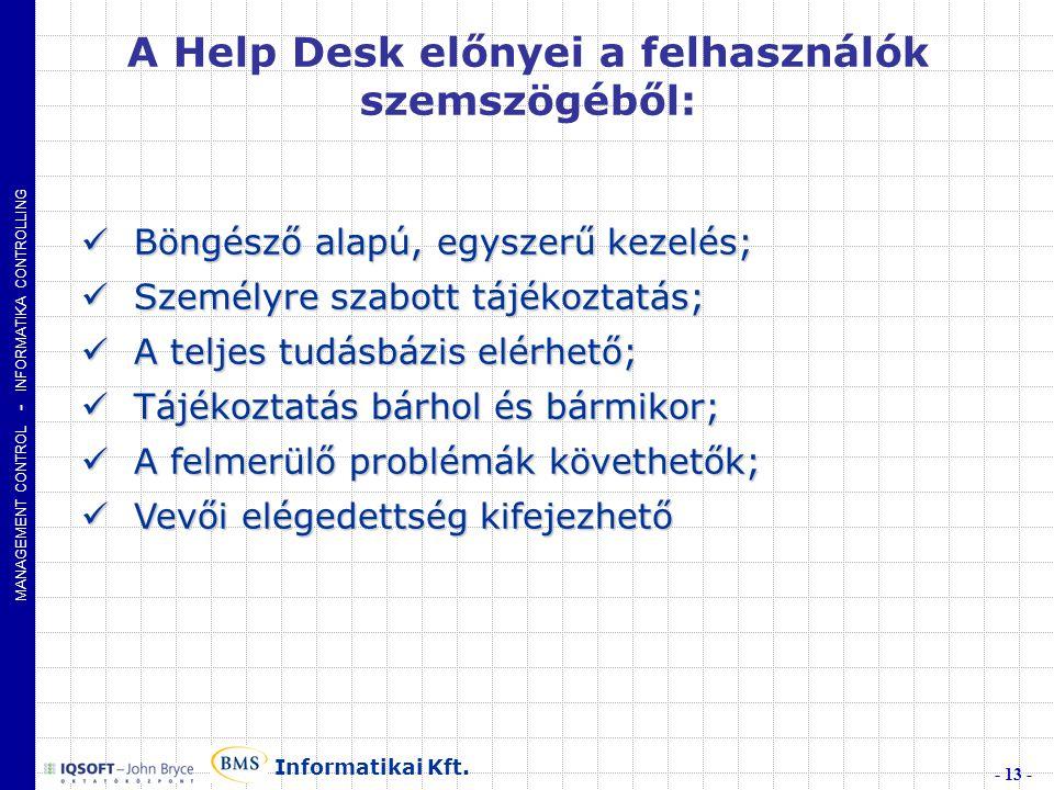 A Help Desk előnyei a felhasználók szemszögéből: