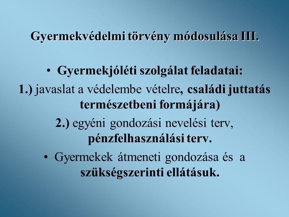 Gyermekvédelmi törvény módosulása III.