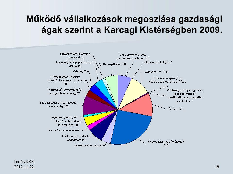 Működő vállalkozások megoszlása gazdasági ágak szerint a Karcagi Kistérségben 2009.