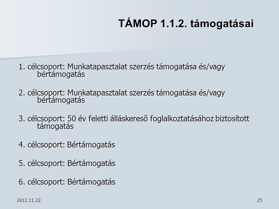 TÁMOP 1.1.2. támogatásai 1. célcsoport: Munkatapasztalat szerzés támogatása és/vagy bértámogatás.