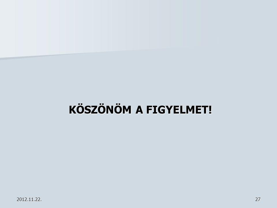 KÖSZÖNÖM A FIGYELMET! 2012.11.22.