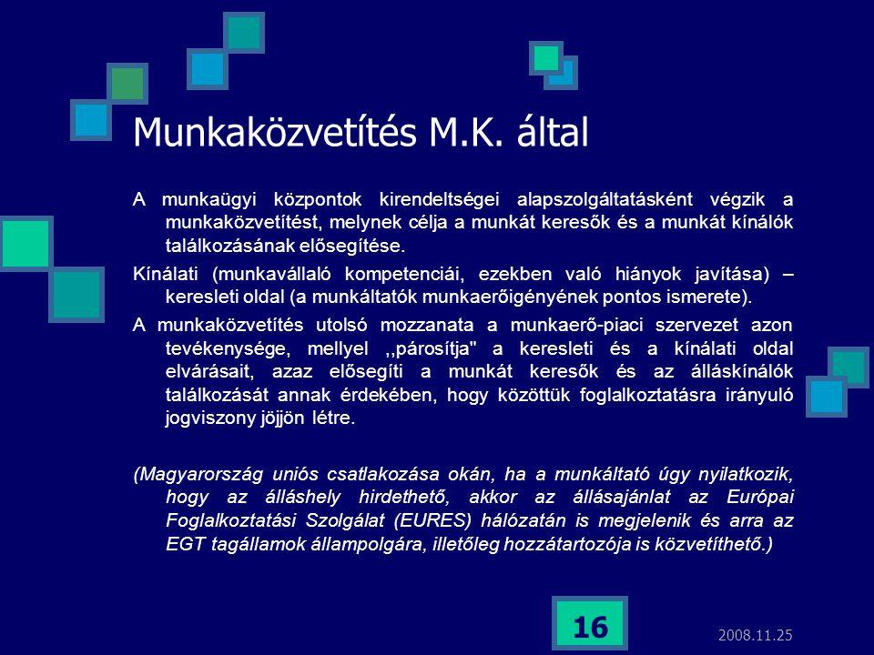 Munkaközvetítés M.K. által