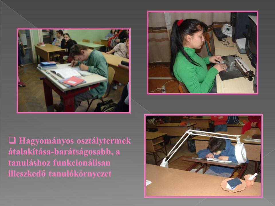 Hagyományos osztálytermek átalakítása-barátságosabb, a tanuláshoz funkcionálisan illeszkedő tanulókörnyezet
