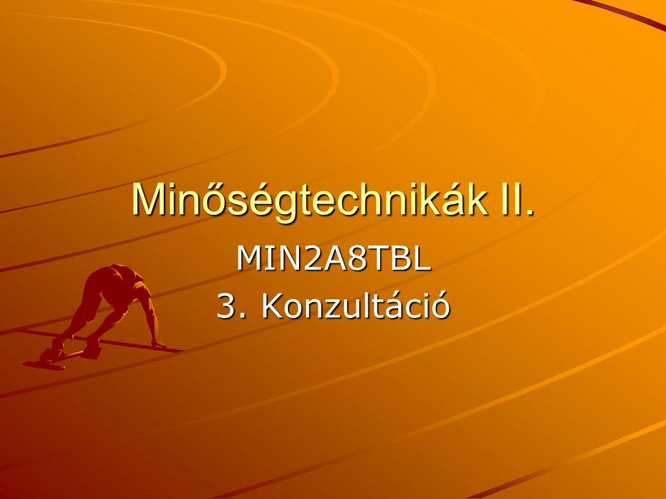 Minőségtechnikák II. MIN2A8TBL 3. Konzultáció