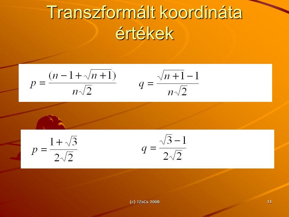 Transzformált koordináta értékek