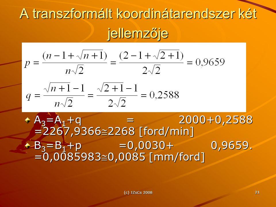 A transzformált koordinátarendszer két jellemzője