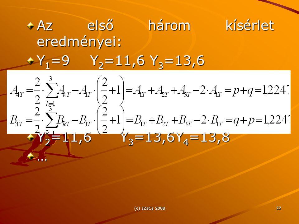 Az első három kísérlet eredményei: Y1=9 Y2=11,6 Y3=13,6