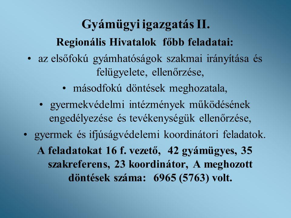 Regionális Hivatalok főbb feladatai: