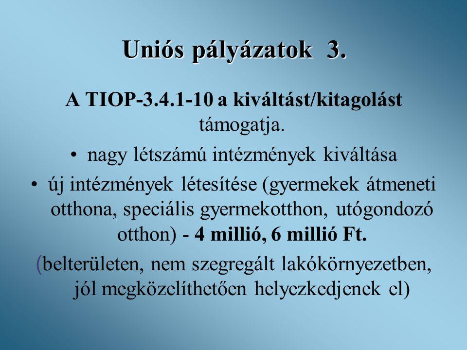 Uniós pályázatok 3. A TIOP-3.4.1-10 a kiváltást/kitagolást támogatja.
