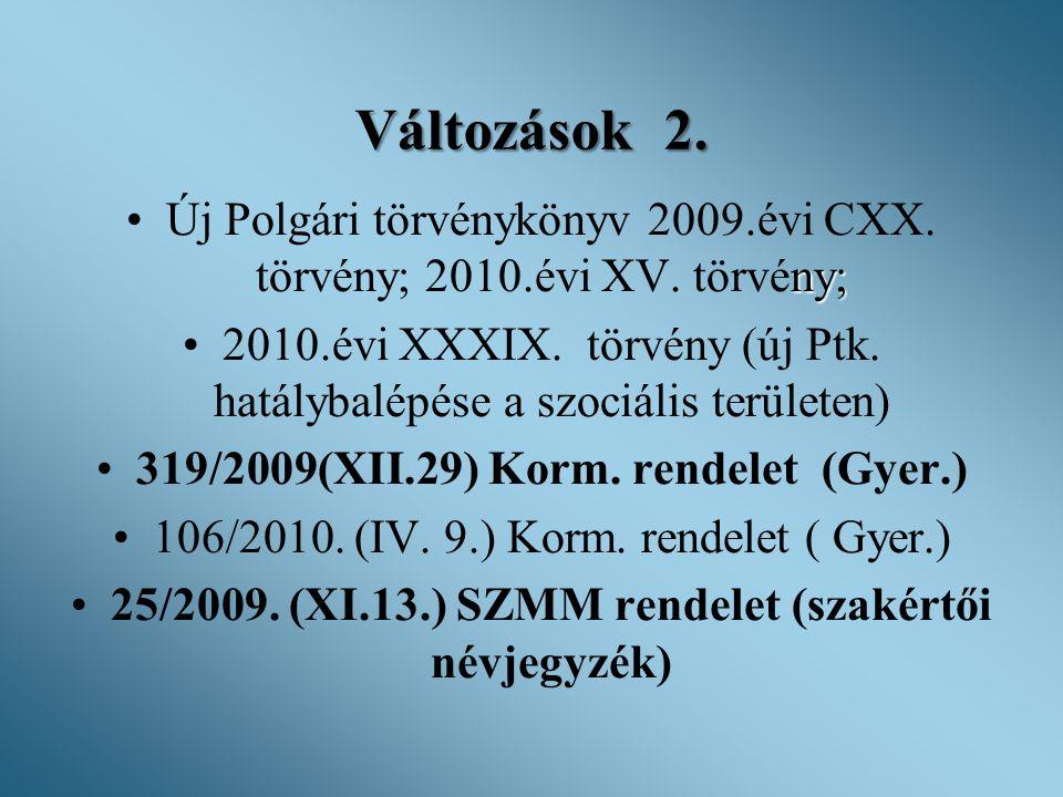Változások 2. Új Polgári törvénykönyv 2009.évi CXX. törvény; 2010.évi XV. törvény;