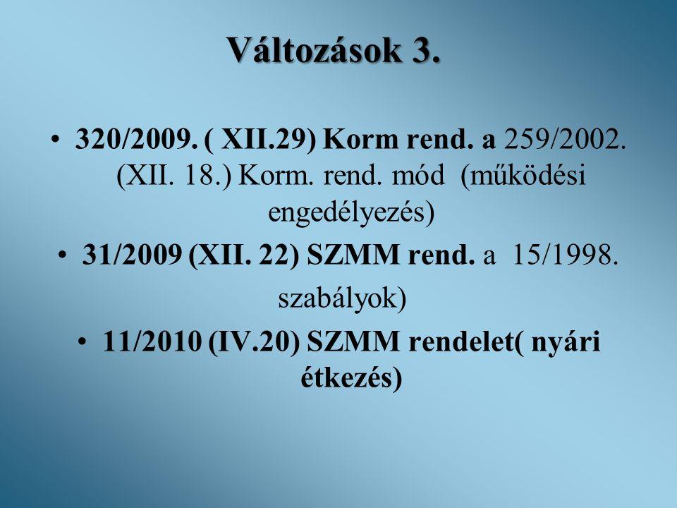 11/2010 (IV.20) SZMM rendelet( nyári étkezés)