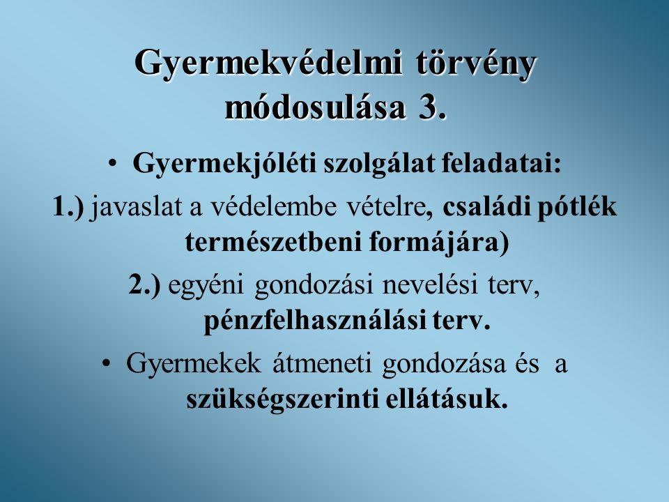 Gyermekvédelmi törvény módosulása 3.