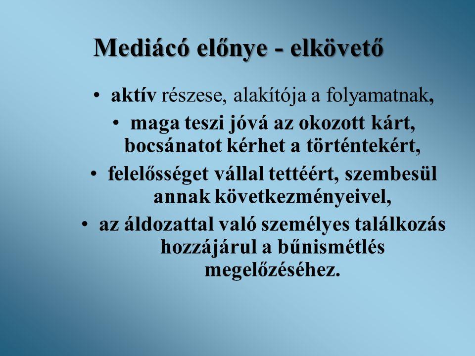 Mediácó előnye - elkövető