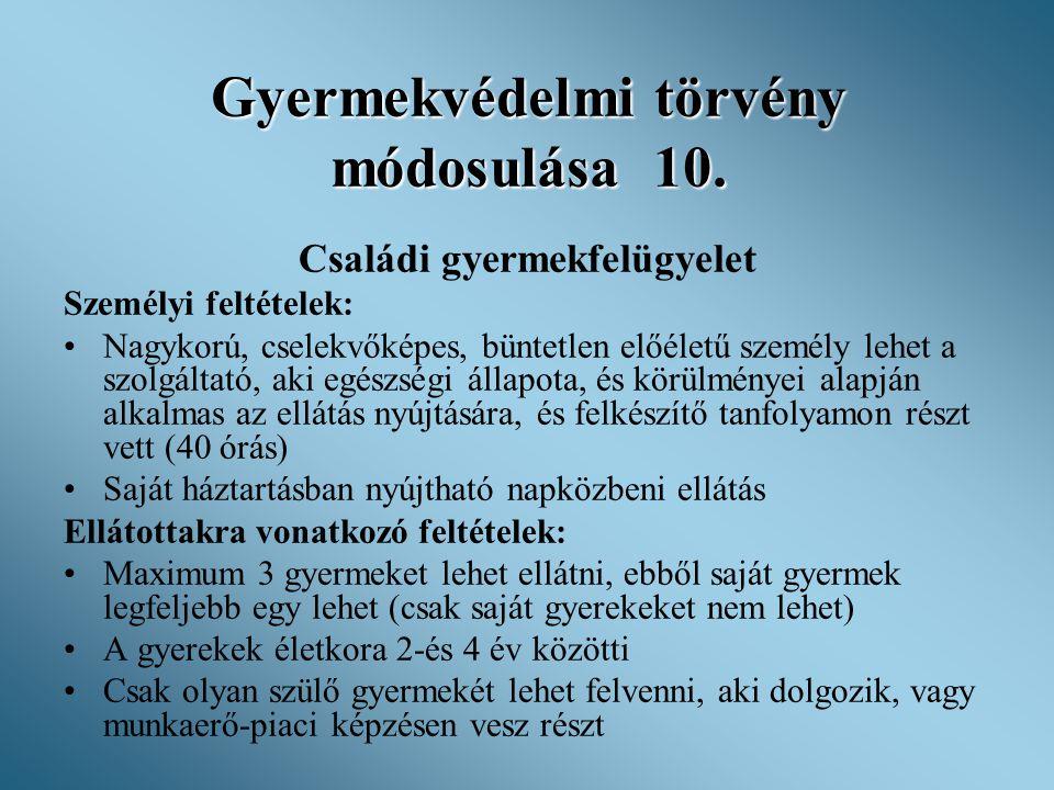 Gyermekvédelmi törvény módosulása 10.