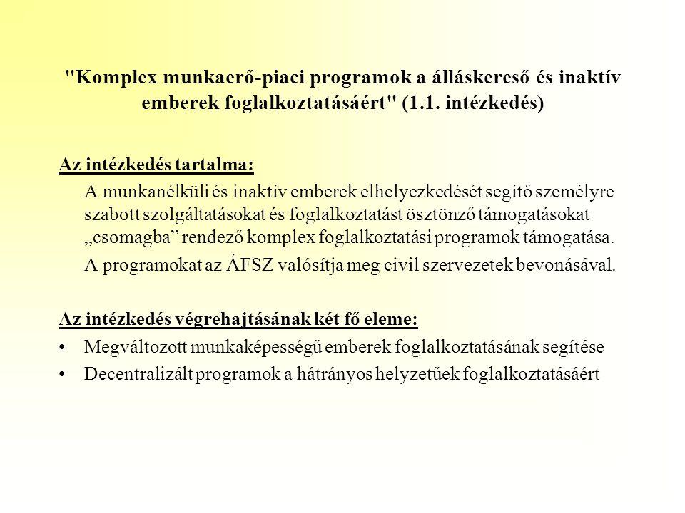 Komplex munkaerő-piaci programok a álláskereső és inaktív emberek foglalkoztatásáért (1.1. intézkedés)