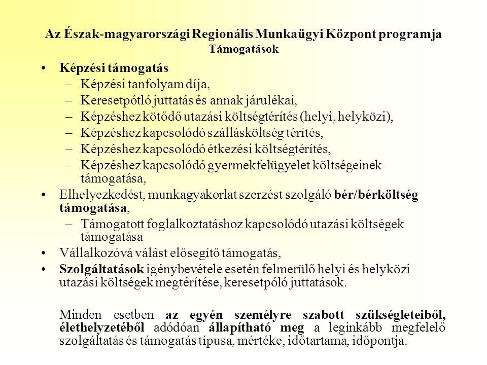 Az Észak-magyarországi Regionális Munkaügyi Központ programja Támogatások