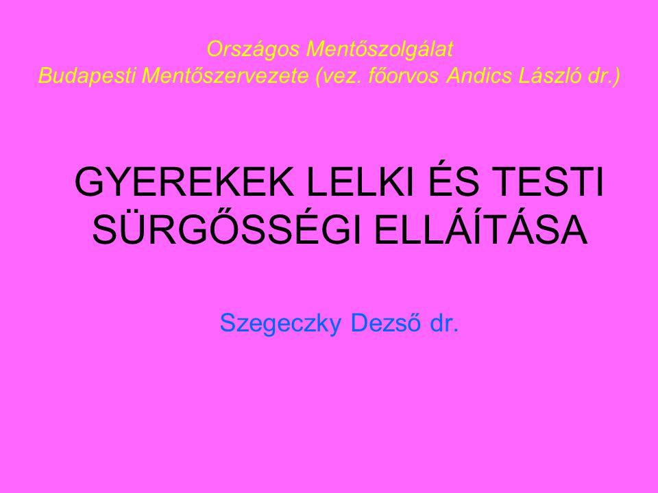 GYEREKEK LELKI ÉS TESTI SÜRGŐSSÉGI ELLÁÍTÁSA Szegeczky Dezső dr.