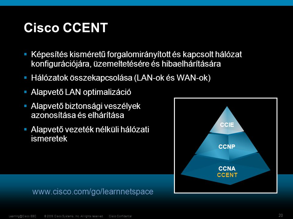 Cisco CCENT Képesítés kisméretű forgalomirányított és kapcsolt hálózat konfigurációjára, üzemeltetésére és hibaelhárítására.