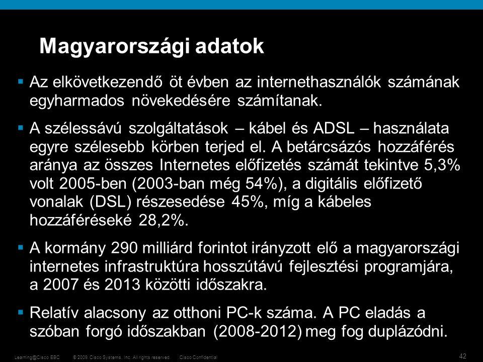 Magyarországi adatok Az elkövetkezendő öt évben az internethasználók számának egyharmados növekedésére számítanak.