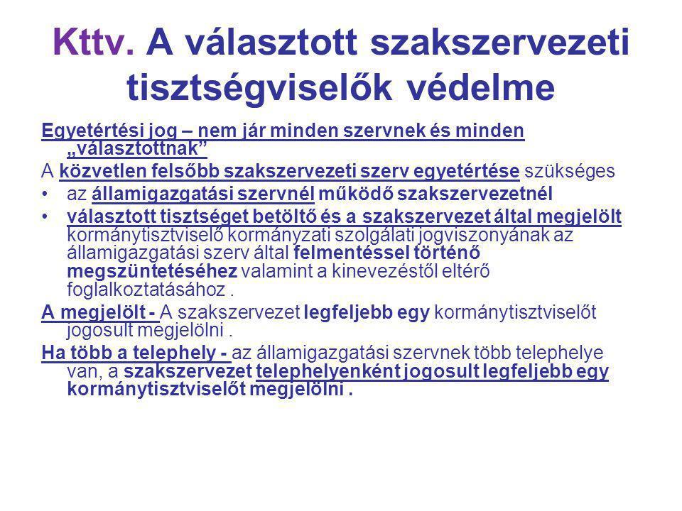 Kttv. A választott szakszervezeti tisztségviselők védelme