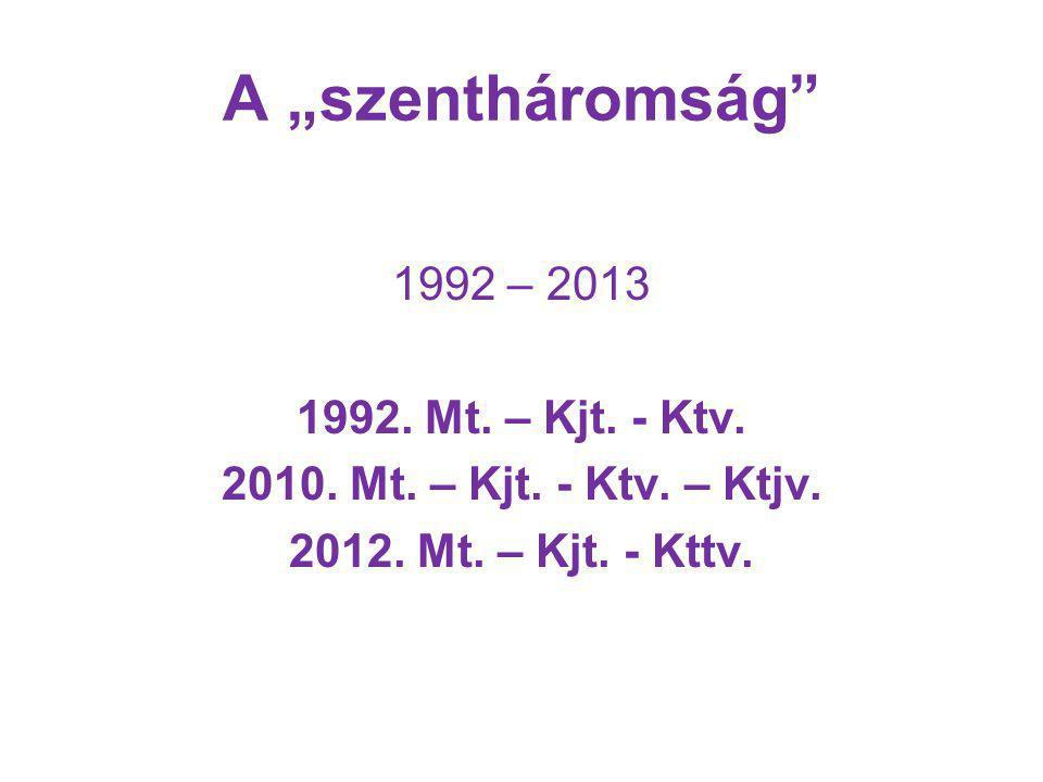 """A """"szentháromság 1992 – 2013 1992. Mt. – Kjt. - Ktv."""