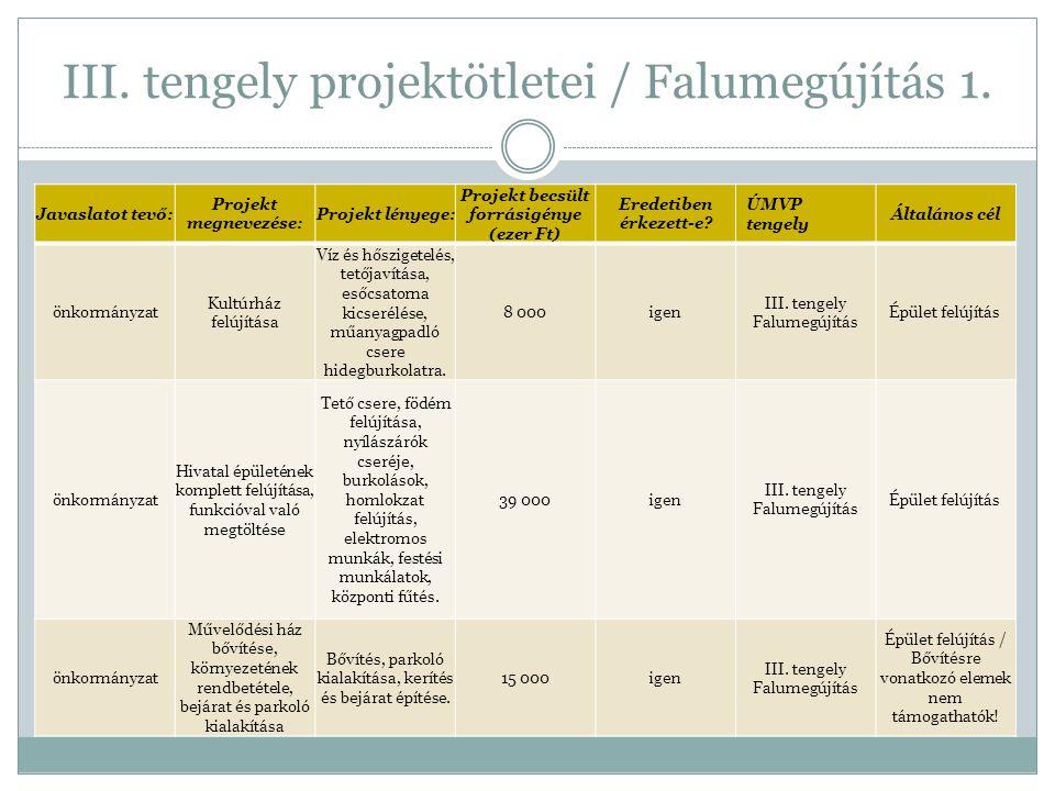 III. tengely projektötletei / Falumegújítás 1.