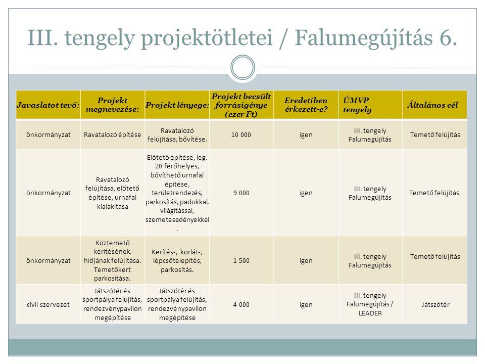 III. tengely projektötletei / Falumegújítás 6.