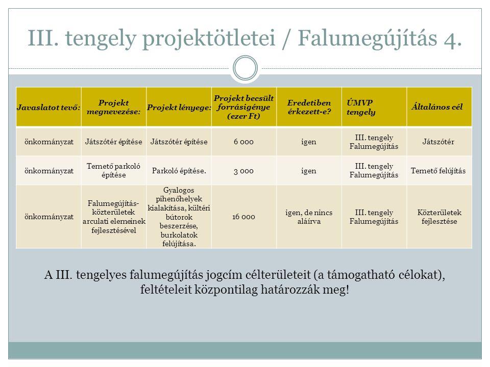 III. tengely projektötletei / Falumegújítás 4.