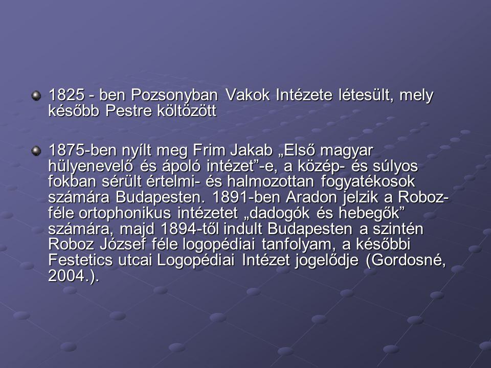 1825 - ben Pozsonyban Vakok Intézete létesült, mely később Pestre költözött
