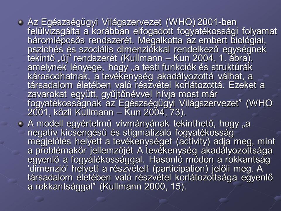 """Az Egészségügyi Világszervezet (WHO) 2001-ben felülvizsgálta a korábban elfogadott fogyatékossági folyamat háromlépcsős rendszerét. Megalkotta az embert biológiai, pszichés és szociális dimenziókkal rendelkező egységnek tekintő """"új rendszerét (Kullmann – Kun 2004, 1. ábra), amelynek lényege, hogy """"a testi funkciók és struktúrák károsodhatnak, a tevékenység akadályozottá válhat, a társadalom életében való részvétel korlátozottá. Ezeket a zavarokat együtt, gyűjtőnévvel hívja most már fogyatékosságnak az Egészségügyi Világszervezet (WHO 2001, közli Kullmann – Kun 2004, 73)."""