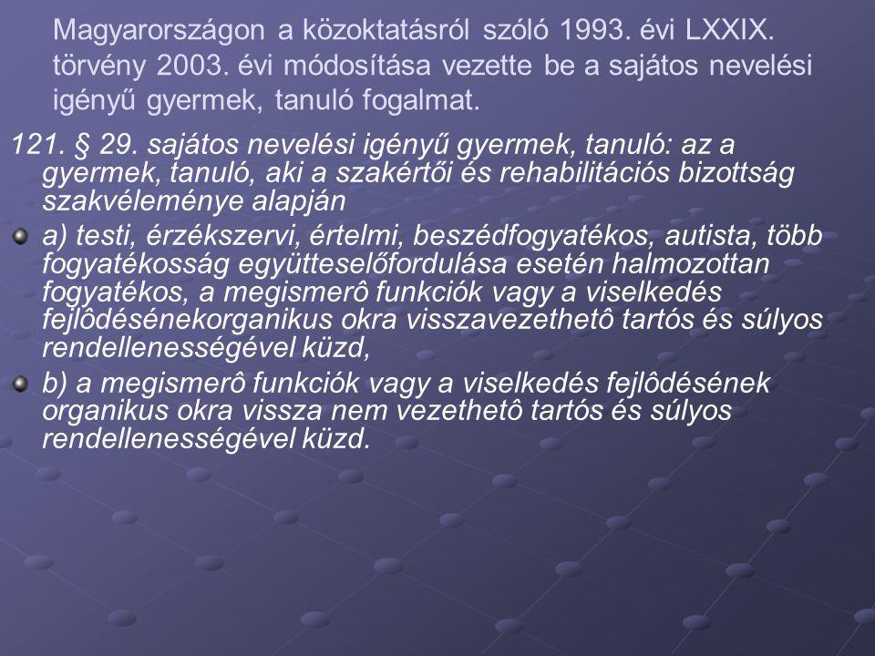 Magyarországon a közoktatásról szóló 1993. évi LXXIX. törvény 2003