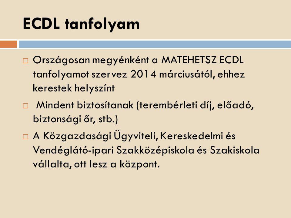 ECDL tanfolyam Országosan megyénként a MATEHETSZ ECDL tanfolyamot szervez 2014 márciusától, ehhez kerestek helyszínt.