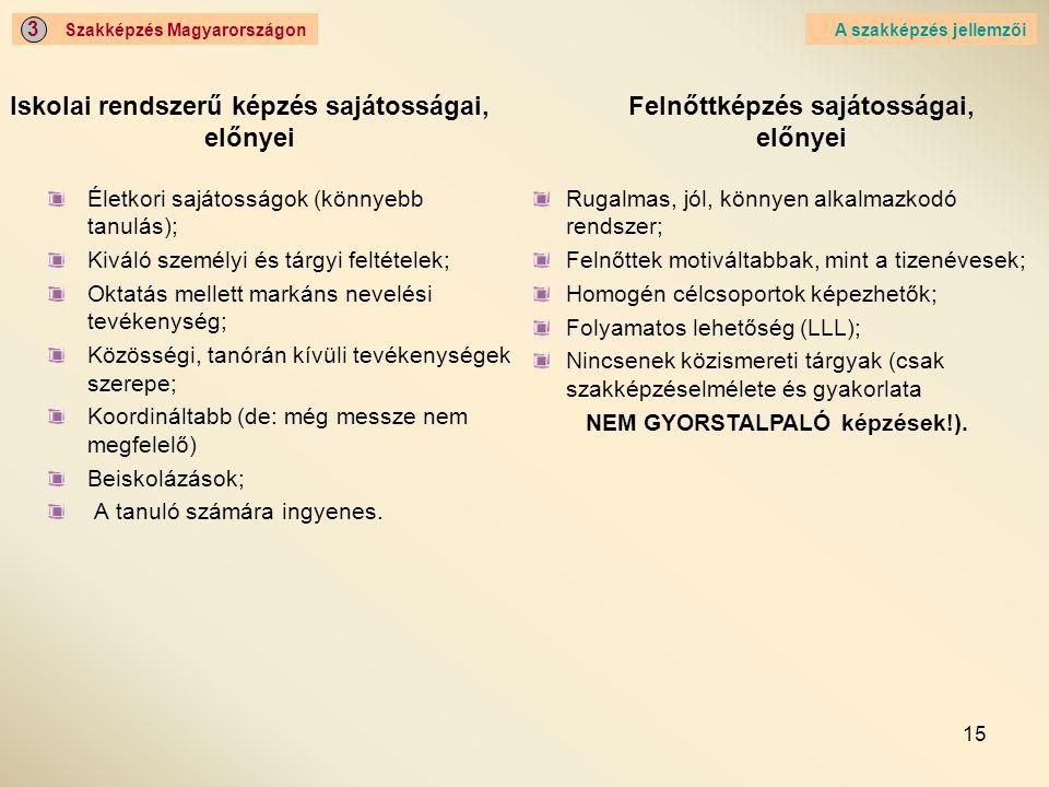 Iskolai rendszerű képzés sajátosságai, előnyei