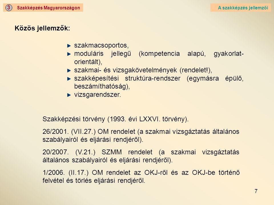 moduláris jellegű (kompetencia alapú, gyakorlat-orientált),