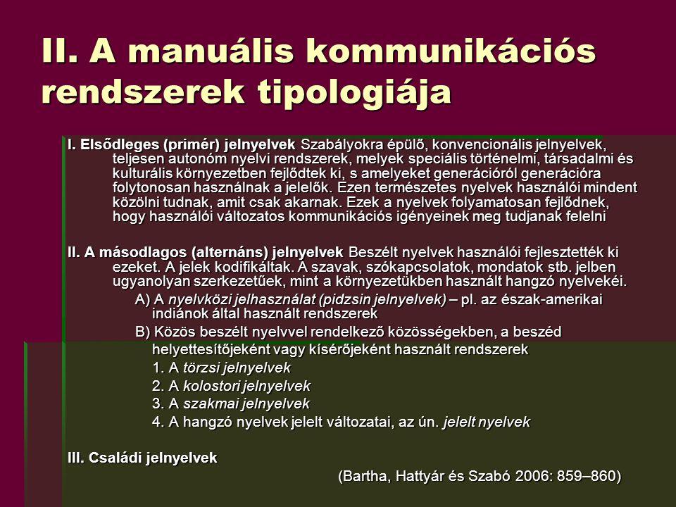 II. A manuális kommunikációs rendszerek tipologiája
