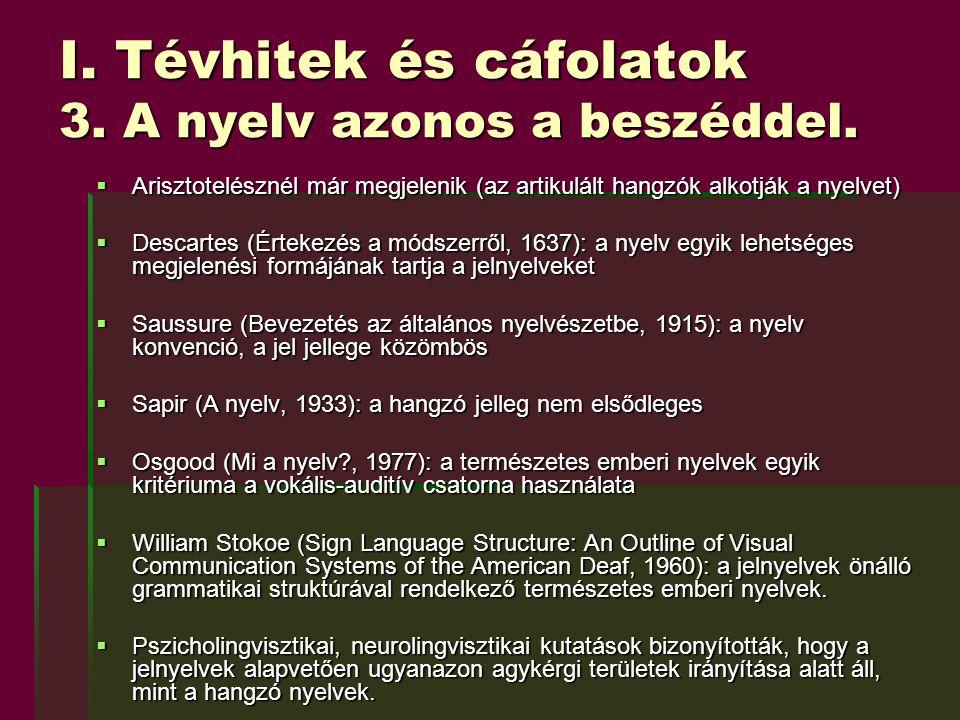 I. Tévhitek és cáfolatok 3. A nyelv azonos a beszéddel.